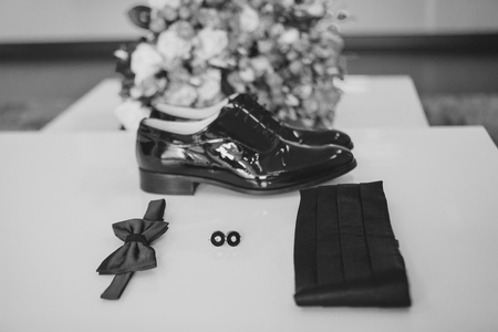 Gentleman accessories. Mans style. butterfly, shoes, sash, cufflinks. Set groom Mobile phone Gadget bouquet Stock Photo