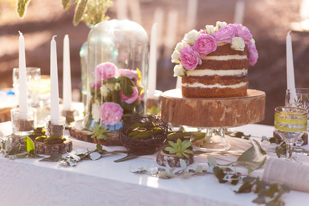 Puffy wedding cake with flowers