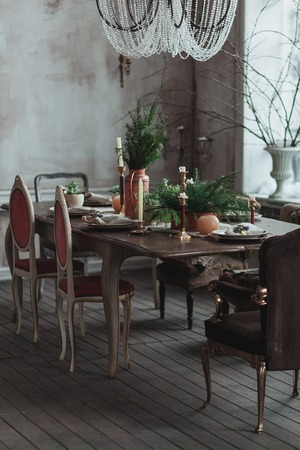 Modern Loft Dining Room With High Ceiling, Vintage Armchairs, Empty Grey  Concrete Wall,