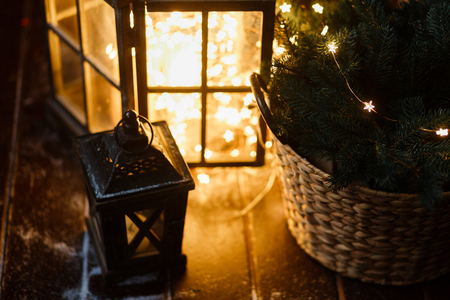 Self-made big lantern with LED lights garland - The dark nights of winter have already arrived and Christmas is coming soon.