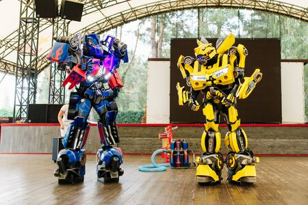 Bumblebee and optimus prime costumed actors for birthday party.