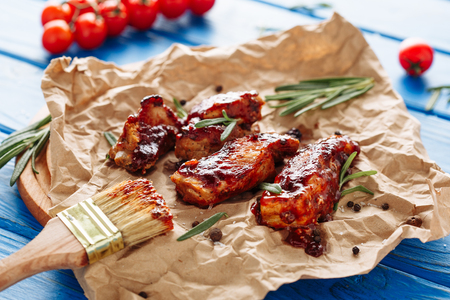 Bbq Pork Grill Ribs Meat Spicy Dinner on Paper