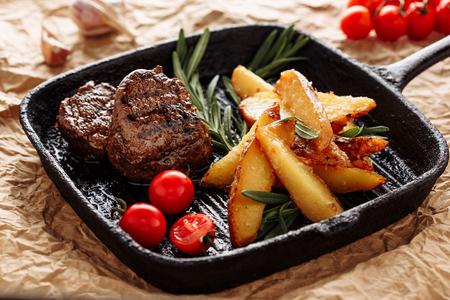 Beef Medallion Grill Roast Country Potato Closeup