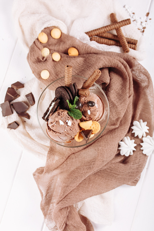 Chocolate Brown Icecream Sweet Dessert Flat Lay 스톡 콘텐츠