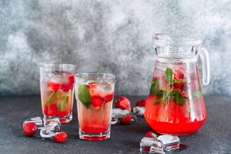 Glasses and Carafe with Fresh Strawberry Drink