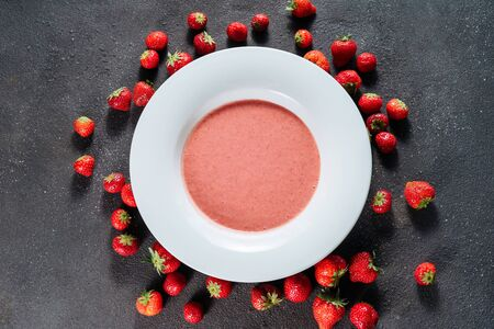 Strawberry Gazpacho Delicious Sweet Dish Top View