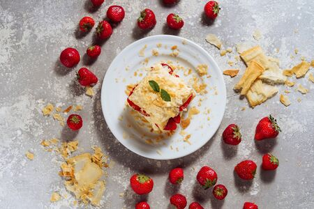 Delicious Napoleon Cake with Strawberry Top View