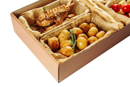 Caja Cartón Comida Frita Deliciosa Entrega Aislada Foto de archivo