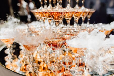 Beautiful Composition from Glasses with Champagne