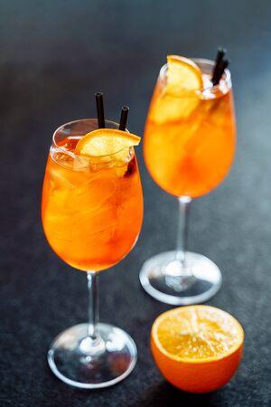Aperol Spritz Sweet Cocktail Drink with Orange Ice Stock fotó