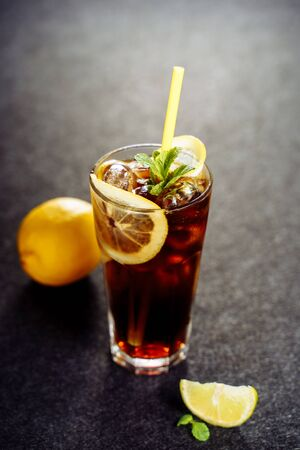 Long Island Cocktail with Cool Vodka Cola Drink Stock fotó