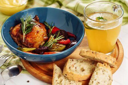 Barbeque Vegetables Chicken and Mustard Broth Reklamní fotografie