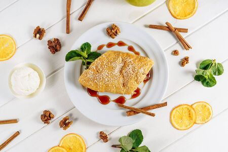 Apple Pastry Strudel Cake Stuffed Dessert Cut Top