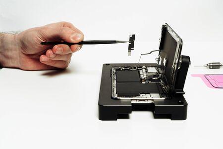 Repairman Assemble Disassembled Open Smartphone