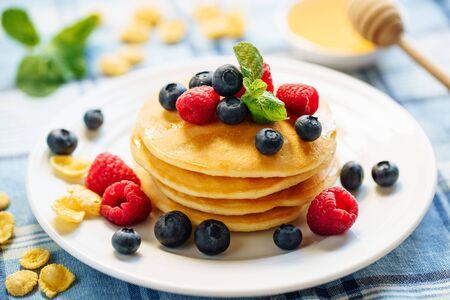 Pancake Blueberry Fried Dessert Stack Breakfast