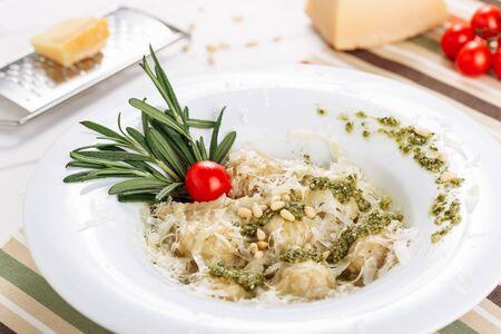 Italian Ravioli Creamy Runner Beans Sauce Rosemary