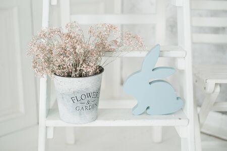Blue Rabbit Easter Holiday Flower Pot Decor Stock Photo - 126731309