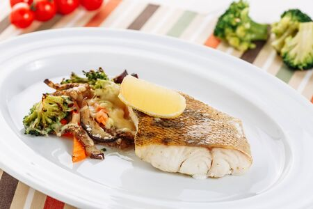 Baked White Fish Fillet Grill Vegetable Closeup