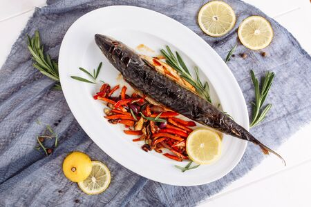 Cooked Grilled Mackerel Scomber Fish Flat Lay