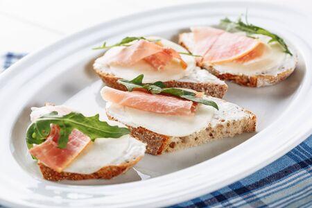 Prosciutto Mozzarella Italian Bread Sandwich Food Фото со стока