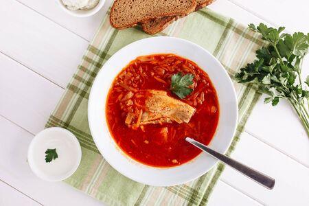 Ukrainian Red Borscht Bowl Dinner Food Top View