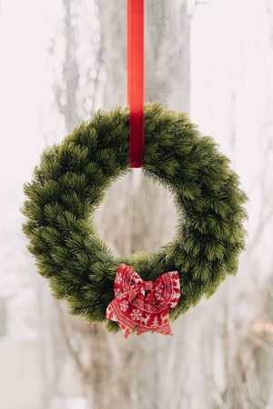 Christmas Pine Tree Wreath Decorated Cute Bow-knot