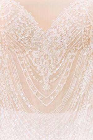 Wedding Dress in Elegance Fashion Style Closeup