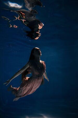 Woman Swimming Night Ocean Underwater Active Time