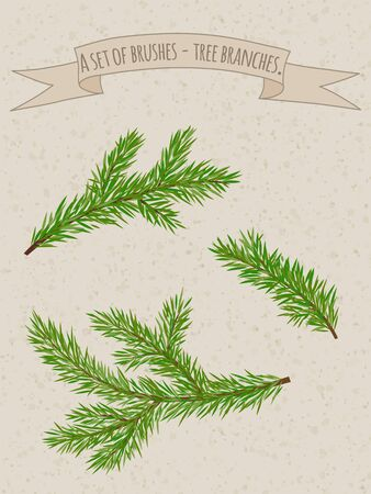 facia: A set of Christmas brushes as the branches of spruce.