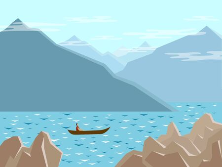 The boat floats on the mountain lake.