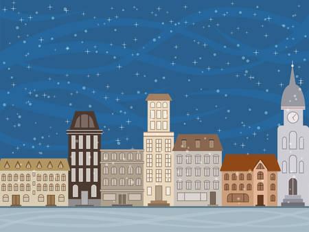 promenade: Snow in the city in the evening.