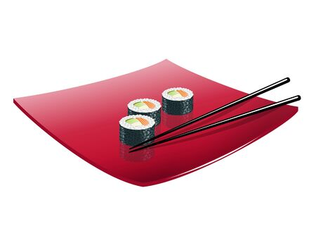 sturgeon: Sushi with a fish on a red plate. Illustration
