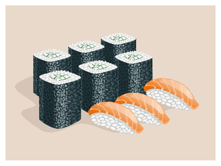 sturgeon: Rolls with cucumber and sushi with fish on a beige background. Illustration