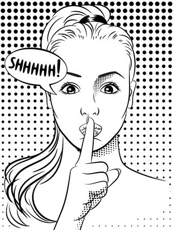 secrets: Woman in the pop art comics style. Vector.