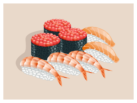 caviar: Sushi with caviar, salmon and shrimp on a beige background.