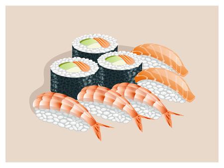 sturgeon: Sushi set on a beige background. Illustration