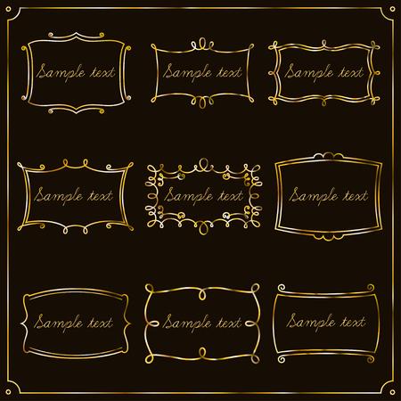 luxe: Set of gold of vintage frames for your design. Illustration
