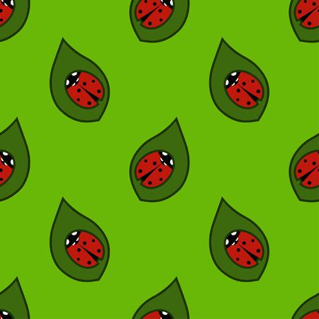 Ladybug on a green background. Seamless pattern.