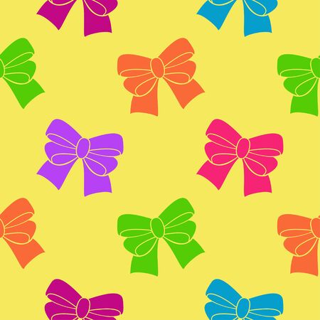 playroom: Multi-colored ribbons on a yellow background. Seamless pattern. Illustration