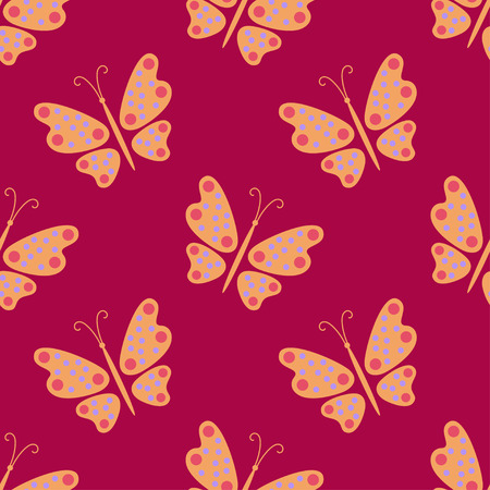 Butterfly on a red background. Seamless pattern. Illustration