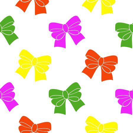 resilient: Multi-colored ribbons on a white background. Seamless pattern. Illustration