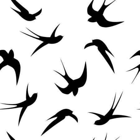 golondrinas: golondrinas negras sobre un fondo blanco. Vectores