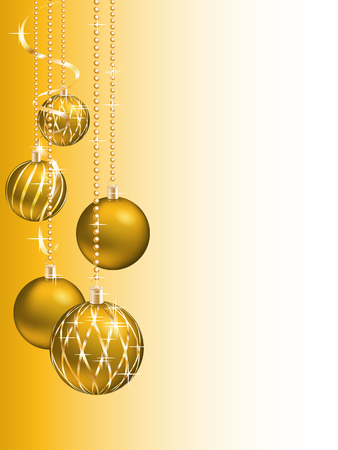 felicitation: Golden christmas background with christmas balls