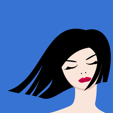 elegantly: The image of a beautiful girl on a blue background for your design.