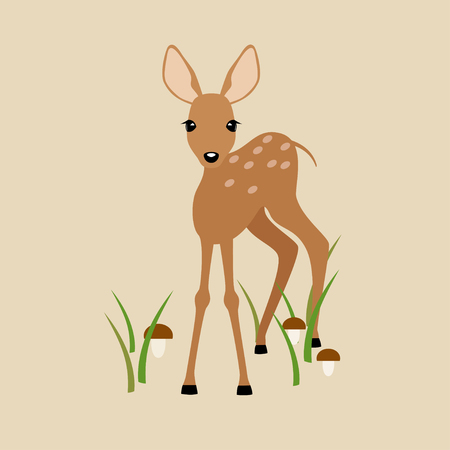 Image of a young deer on a beige background.
