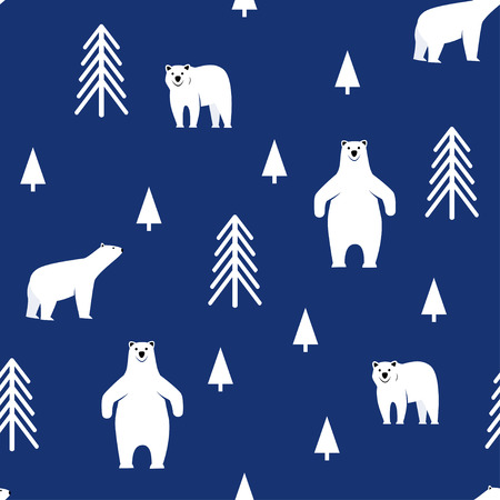 Polar bear on a blue background. Seamless pattern.