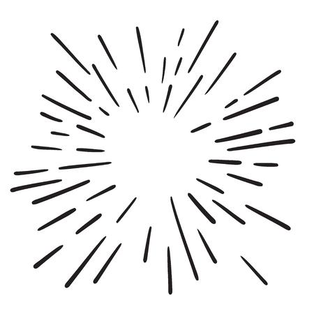 Vintage Hand Drawn Design Element Fireworks Black Rays. Vector.