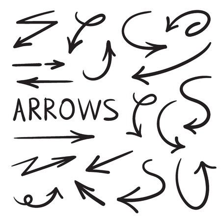 A set of arrows on a white background. Ilustração