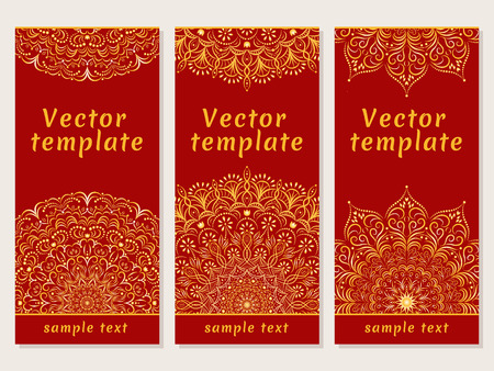 Set of vector templates for your design. Indian mandalas. Circular ornament.