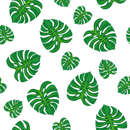 Green leaves on white background. Seamless pattern.
